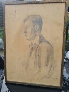 Vtg Antique Pencil Sketch Portrait Handsome Man Gentleman 1940s Signed painting