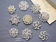 "10 PCs 2"" Large Rhinestone Brooch Lot Pin Crystal Pearl Wedding Bouquet Bridal"