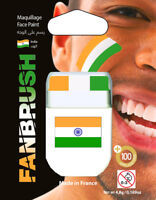 Green White And Orange India Flag Fan Face Paint Fanbrush Instant Brush On