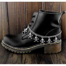 Women Punk Skull Charm Boot Chain Bracelet Strap Silver Anklet
