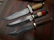 LOT OF 3 CUSTOM HANDMADE DAMASCUS HUNTING TRACKER BEAR SKINNER KNIVES - 18