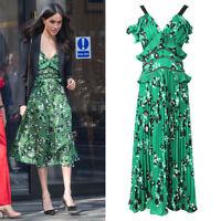 Meghan Markle Low Cut Lace Floral Cold-Shoulder Crepe Fine Pleated Midi Dress