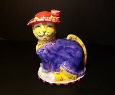 CM Redwine Pacfic Giftware Cat Piggy Bank ~Red Hat Society cat