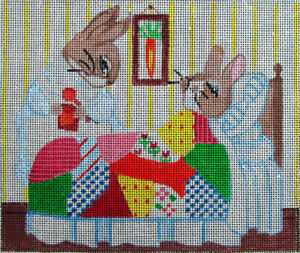 2xHP Needlepoint 18ct Quilted Bed: Peter Rabbit Sick/Girl Talking Squirrel-GN40