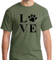 Love Dog Cat Paw T Shirt Animal Lover Tee T-shirt I Love Pet Rescue Short Sleeve