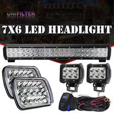"7X6"" 6000K HID H4 Black Projector Headlight w/ 20inch Light Bar For Pickup JEEP"