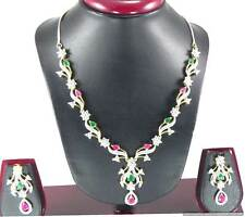 Jewelry set Necklace Earrings set CZ AD White Zircon stones Ruby Red and Green
