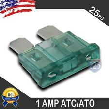 25 Pack 1 AMP ATC/ATO STANDARD Regular FUSE BLADE 1A CAR TRUCK BOAT MARINE RV US
