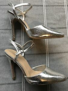 Ladies New Look Silver High Heel Stiletto Shoes Size 5 Worn Once Party Cruise