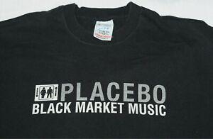 Vintage Placebo BLACK MARKET MUSIC t shirt (Medium) The Cure Marilyn Manson GOTH