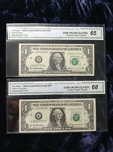 1995,1999,  $1,FANCY LOW NUMBERS 00007777 DOUBLE QUAD SET  RARE-ONLY ONE SET