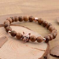 8MM Wooden Beads Fierce Wolf Head Male Beads Strand Handmade Men Bracelets