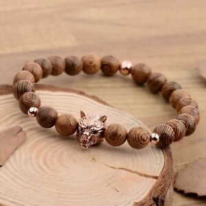 8MM Wooden Beads Fierce Wolf Head Male Beads Strand Handmade Men Bracelets
