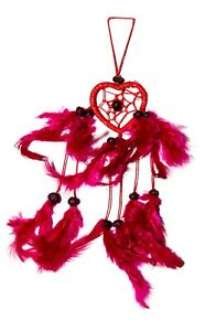 Traumfänger / Dreamcatcher - 25cm x 4cm - Rot / Pinke Federn - Herz