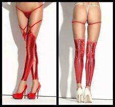 Sexy Footless Stockings Designer Flaming Red Metallic Hold Ups Lingerie