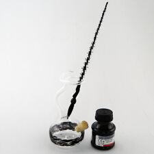 Glasfeder Glasfüller Glasfederhalter mit Tintenfass Tinte Glasfederset Schwarz