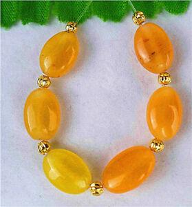 6Pcs 12x8x5mm Yellow Malay Jade Oval Height Holes Bead AP13083