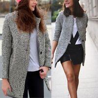 Women Winter Warm Wool Lapel Long Slim Trench Parka Coat Jacket Overcoat Outwear