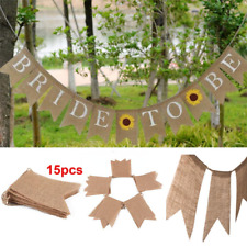 15PCS/SET Rustic Burlap Pennant Banner Burlap Triangle Banner DIY Wedding Decor