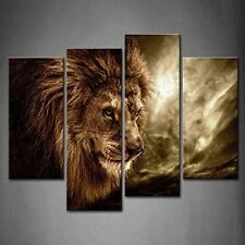 Canvas Print Wall Art Decor Home Painting Lion 4 Panels Framed Animal Decoration
