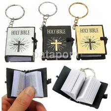 Christian Book Miniature Holy Bible with Latin Cross Cover Key Ring Keychain US