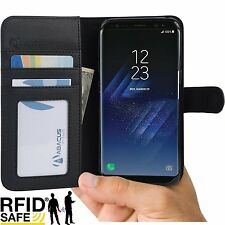 Black RFID Blocking Wallet Case Cover for Samsung Galaxy S8 Phone