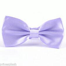 Men's Pre Tied Satin Wedding Party Fancy Plain Necktie Ties Bow Tie Multi Colour