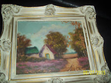 H. WESTER VINTAGE DUTCH LANDSCAPE PAINTING old rare with label nice colors