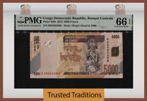 TT PK 102b 2013 CONGO DEMOCRATIC REPUBLIC 5000 FRANCS PMG 66 EPQ GEM UNC.