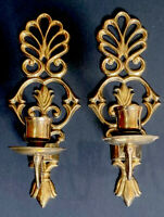 Vintage Pair Solid Brass Wall Sconces Candlestick Candle Holders Home Decor