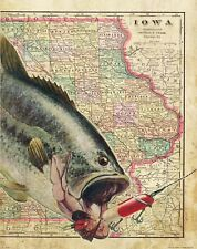 Bass Fishing Anglers Club Iowa State Map Art Print Vintage Lures Boat  MAP14