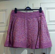 "FAT FACE UK 16 18 W 37"" Deep Pink Flower Daisy Print Orange Lined Circle Skirt"