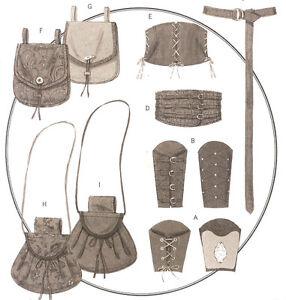 Renaissance Accessory PATTERN Butterick 5371 Medieval SCA Bracers Belt Sporran