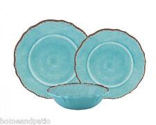 18Pc Turquoise Antiqua Top Quality Outdoor Patio Melamine Dinnerware Set for Six