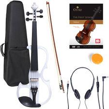 NEW 4/4 Ebony Electric Violin w/Pickup-White,Style-2