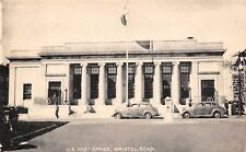 Bristol Connecticut~US Post Office~Go Right Traffic Post~1930s Cars~B&W Litho PC