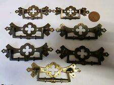 7 Antique Cabinet Door ORNATE Brass French CUPBOARD HANDLES PULLS c1910
