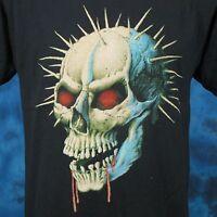 vintage 80s DEMON SKULL PAPER THIN T-Shirt MEDIUM/LARGE zombie biker punk rock