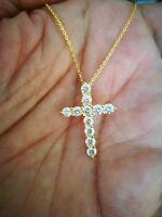 1Ct Diamond Cross Pendant Necklace with Chain 14K Yellow Gold over Women's Men's