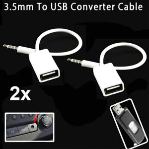 2x AUX to USB Adapter 3.5mm Male Aux Audio Jack Plug to USB 2.0 Female Converter