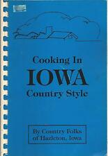 HAZLETON IA 1993 COOKING IN IOWA COUNTRY STYLE COOK BOOK * ETHNIC AMISH RECIPES