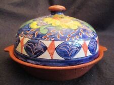 VINTAGE PORTUGUESE RUSTIC POTTERY CASSEROLE with HAND-PAINTED COVER c.1960's