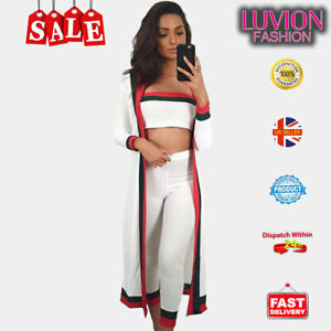 New Striped Knitted Longline Cardigan 3 Piece Set Casual Outfit Women Loungewear
