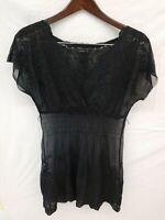 BCBG Maxazria Sexy Black Lace Mesh Cover up Overlay Mini Dress Sz M.. FLAW