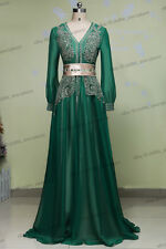 Green Arabic Muslim Evening Dresses Dubai Beading Long Sleeve Formal Gown Custom
