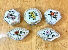 5 Vintage Empress Josephine's Rose Garden Fine Porcelain Small Trinkets Boxes