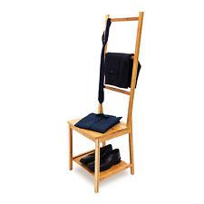 Chaise porte-serviettes porte-vêtements en bambou Étagère avec assise 3 barres