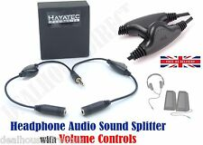 Headphone Splitter with Volume Controller - 2 Way earphone Adapter cable UK FREE