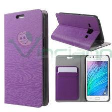 Custodia cover FLIP effetto legno VIOLA per Samsung Galaxy J1 case stand+tasca