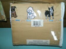Luxury Living 400 Wrinkle Free Full Size Sheet Set Embroidered Dogs New